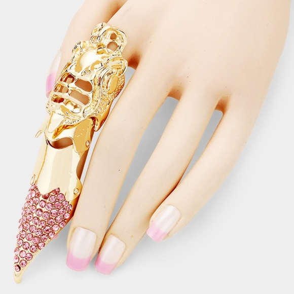 Metal Colorful Crystal Pink Gold Claw Finger Ring
